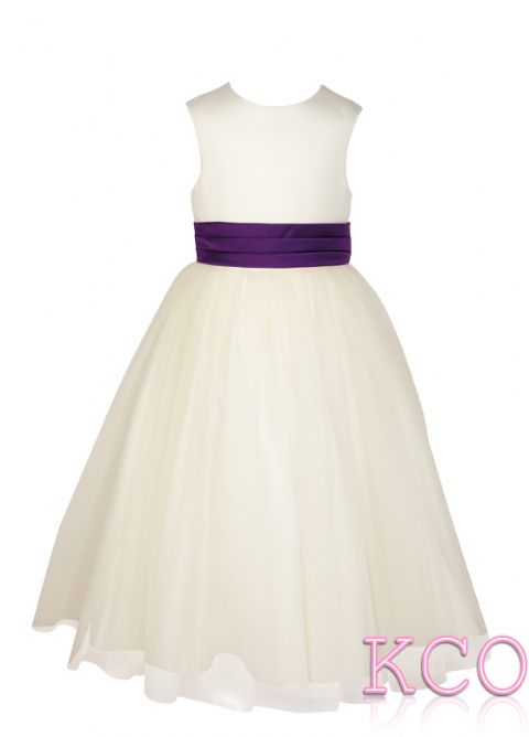 Style FJD922~ Pleat Sash Dress Ivory/Burgundy